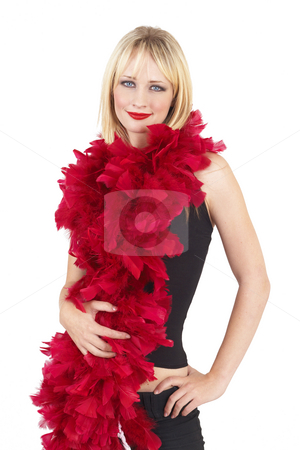 Portrait of beautiful blonde woman stock photo, Portrait of a beautiful blonde woman with light blue eyes and dramatic make-up wrapped in red fur boa isolated on white background by Elena Weber (nee Talberg)