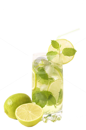 Mojito cocktail on white background stock photo, Mojito cocktail with lime, mint leaves and ice on white background by Elena Weber (nee Talberg)