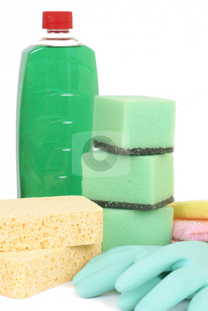 Variety of cleaning products stock photo, Variety of cleaning products - sponges, gloves, and bottle with chemicals isolated on white background by Elena Weber (nee Talberg)