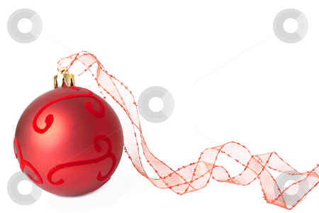 Red Christmas bauble with ribbon stock photo, Single red Christmas bauble with organza ribbon isolated on white background with copy space. Shallow depth of field by Elena Weber (nee Talberg)