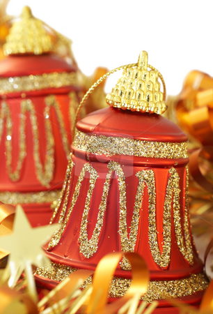 Colorful Christmas bells stock photo, Colorful Christmas bells with golden tinsel on white background. Shallow depth of field by Elena Weber (nee Talberg)