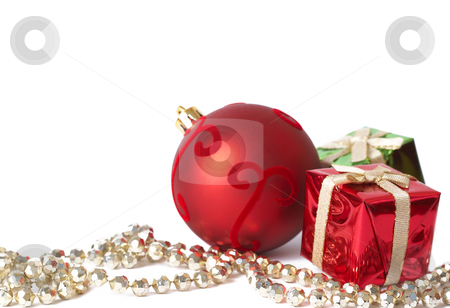 Christmas gift boxes, ball and jewelry stock photo, Colorful Christmas gift boxes, red ball and golden jewelry isolated on white background with copy space by Elena Weber (nee Talberg)