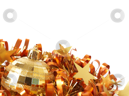 Gold Christmas bauble on tinsel stock photo, Single gold Christmas bauble on tinsel isolated on white background with copy space. Shallow depth of field by Elena Weber (nee Talberg)