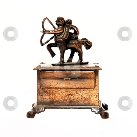 Sagitarius stock photo, Sign of the zodiac in bronze. Isolated on white. Sagitarius by Giuseppe Ramos