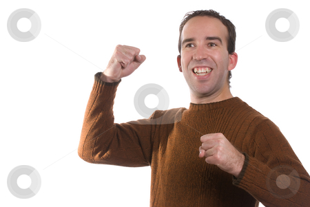 YES stock photo, A young man is cheering about something and looking very happy, isolated against a white background by Richard Nelson
