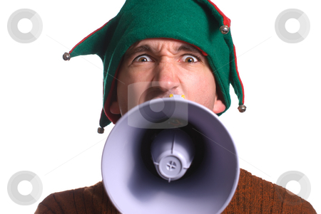 Yelling Elf stock photo, An adult Christmas elf is yelling into a megaphone and facing the camera by Richard Nelson