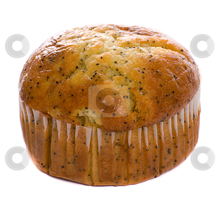 Carrot Muffin stock photo, A carrot muffin with the wrapping on is isolated against a white background by Richard Nelson