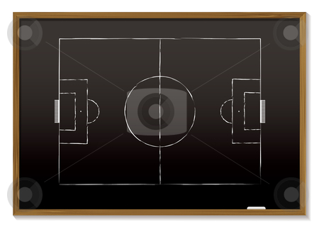 Football blackboard stock vector clipart, Black board with wood frame and chalk drawing of pitch by Michael Travers