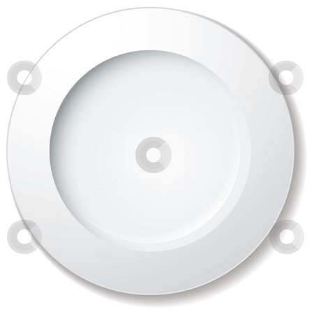 Dinner plate large rim stock vector clipart, White plate with large rim and drop shadow by Michael Travers