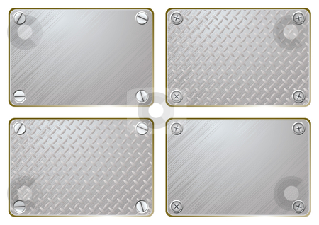 Metal name plate stock vector clipart, Silver metal plate with screws and room to add your own text by Michael Travers