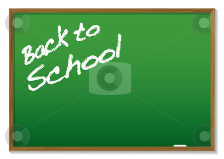 Chalkboard back to school stock vector clipart, Green chalkboard with the message written in chalk back to school by Michael Travers