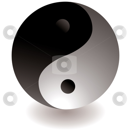 Ying yang black and white stock vector clipart, Black and white ying yang logo with drop shadow by Michael Travers