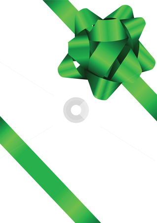 Green Bow Illustration stock vector clipart, Green Bow Illustration with a gradient shine by John Teeter