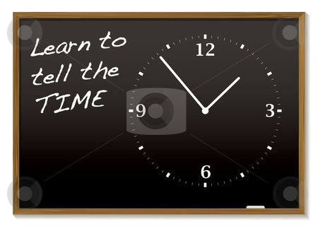 Tell the time blackboard stock vector clipart, School blackboard with chalk clock and tell the time text by Michael Travers