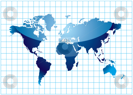 Grid world stock vector clipart, Blue world map with mesh and light reflection by Michael Travers