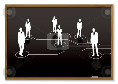 Business blackboard stock vector clipart, Blackboard with chalk white business people and connections by Michael Travers