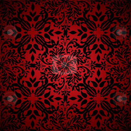 Abstract floral hot red stock vector clipart, Red and black floral inspired seamless background pattern by Michael Travers