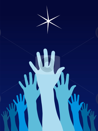 Raised hands trying to reach a star stock vector clipart, A group of raised hands with a starl over them. Vector avaliable by Cienpies Design