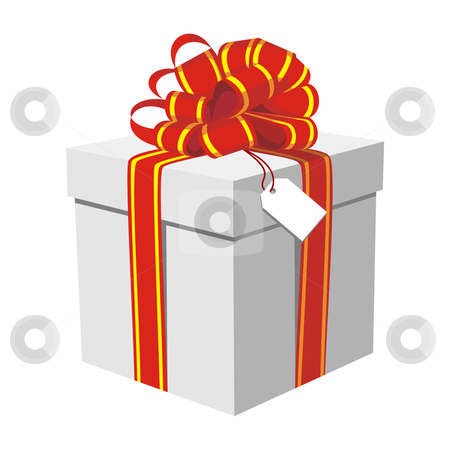 Gift box with red and golden ribbon stock vector clipart, Illustration of beautiful gift box. White background. Vector available by Cienpies Design
