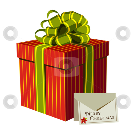 Red gift box with a Xmas greeting card stock vector clipart, Red gift box with green ribbon and Xmas card. White background. Vector available by Cienpies Design