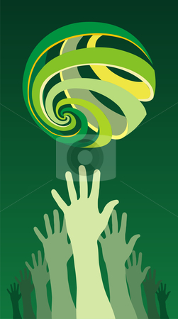 A group of raised hands with a world globe icon over them stock vector clipart, Trying to reach an environmental problem solution. Vector file available. by Cienpies Design