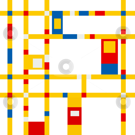 Mondrian grid inspiration stock vector clipart, Mondrian inspired vibrant colors background by Cienpies Design