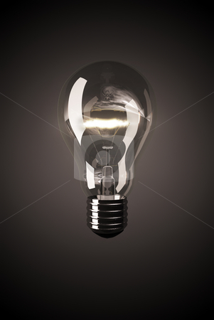 Light bulb stock photo, Shining clear light bulb on black background by Peter Lecko