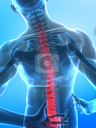 Pain in spine stock photo, Man with pain in spine part - x-ray view with selected bootoom part by Peter Lecko