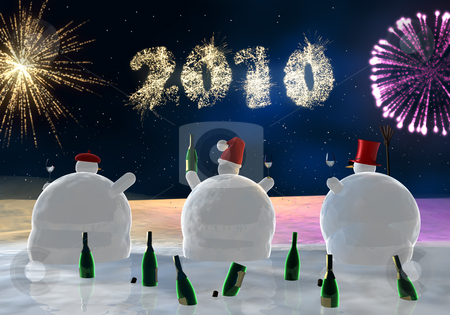 Funny snowmen are  drinking stock photo, Frozen snowmen drink champagne with fireworks in background by Peter Lecko