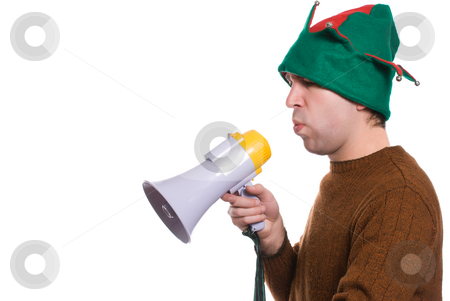 Christmas Directions stock photo, Profile view of an adult elf using a megaphone to say something, isolated against a white background by Richard Nelson