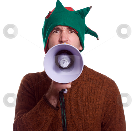 Yelling Elf stock photo, An adult Christmas elf is using a megaphone to yell at the viewer and is isolated against a white background by Richard Nelson