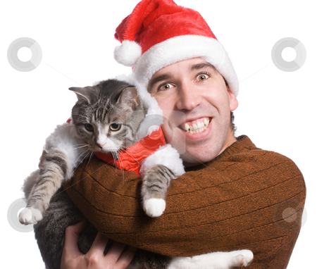 Friendship stock photo, A young man and his cat are dressed for Christmas, isolated against a white background by Richard Nelson