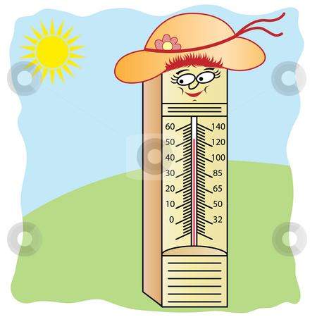 Thermometer cartoon character with a smiling face, wearing a summer hat with