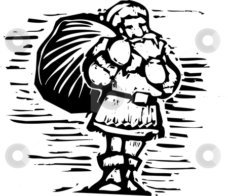 Woodcut Santa stock vector clipart, Santa in a woodcut style holding bag of toys. by Jeffrey Thompson