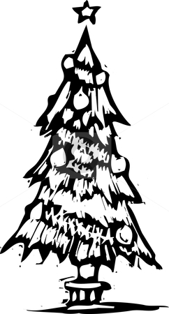 Christmas tree stock vector clipart, Christmas tree rendered in a woodcut style. by Jeffrey Thompson