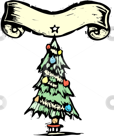 Christmas tree with Banner stock vector clipart, Christmas tree with Banner in woodcut style. by Jeffrey Thompson