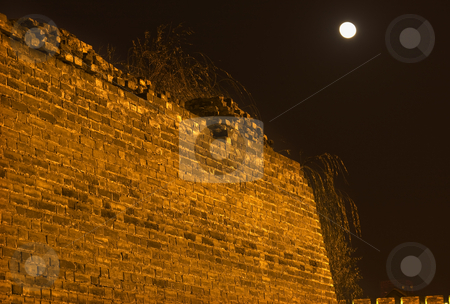 Ancient City Wall Park at Night with Moon Beijing China stock photo, Ancient City Wall at Night with Moon Beijing China by William Perry