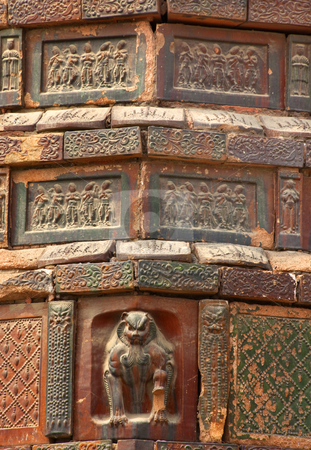 Ancient Crouching Tiger Dancer Bricks Details Iron Buddhist Pago stock photo, Ancient Crouching Tiger Dancer Bricks Buddhas Dancers Chinese Officials Iron Pagoda Buddhist Monument Kaifeng China Built in 1069 by the Kaibao Buddhist Monstary.  Best example of glazed brick pagoda in China by William Perry