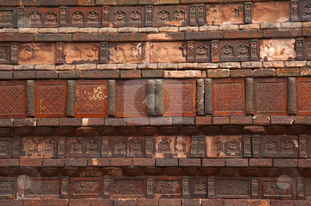 Ancient Bricks Details Iron Buddhist Pagoda Kaifeng China stock photo, Ancient Bricks Buddhas Dancers Chinese Officials Iron Pagoda Buddhist Monument Kaifeng China Built in 1069 by the Kaibao Buddhist Monstary.  Best example of glazed brick pagoda in China by William Perry