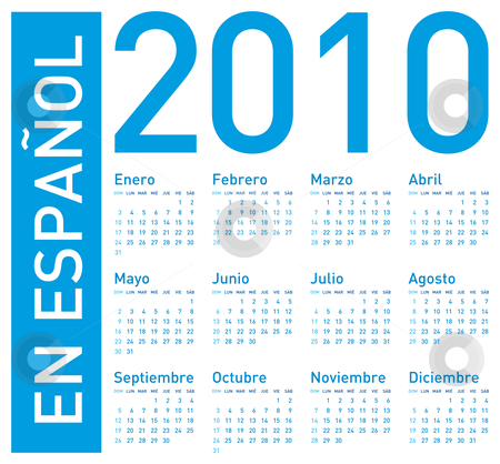 Blue Calendar for 2010 in spanish stock vector clipart, Simple Blue Calendar for year 2010. In Spanish (en espa? by Germán Ariel Berra