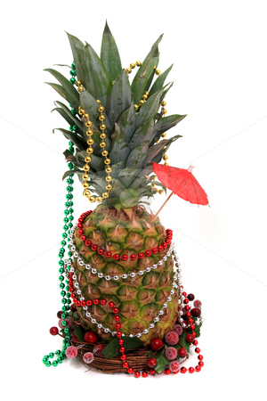 Party Pineapple stock photo, Party decoration on pineapple isolated by Jack Schiffer