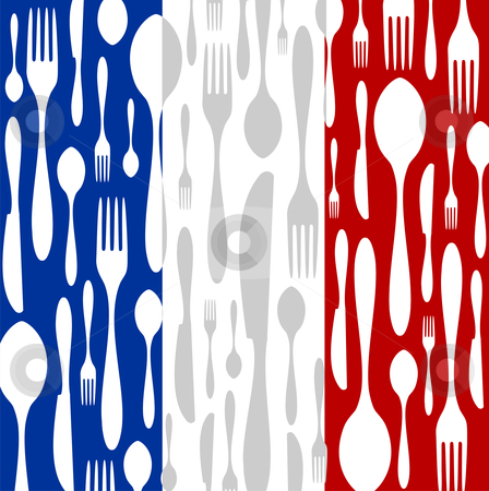French Cuisine: Cutlery pattern on the country flag stock vector clipart, French Cuisine. Cutlery silhouettes: spoon, knife and fork pattern on blue, white and red wide striped background as an icon of the country flag. Vector available by Cienpies Design