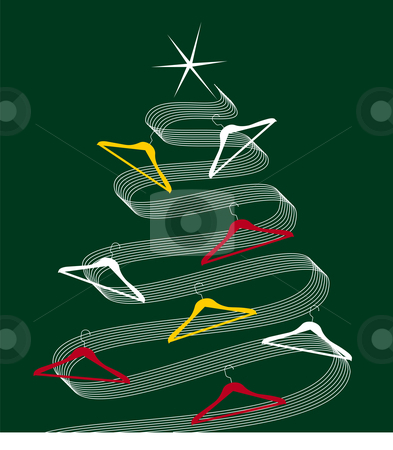 Trendy Christmas Tree stock vector clipart, Christmas tree made of white lines decorated with clothes hangers. Shiny white star on top. Green background. Vector available by Cienpies Design