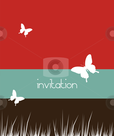 Butterflies and grass background stock vector clipart, Butterfly and grass white pattern, on a red, blue and black striped background. Spring motif design usable as invitation card. Vector available by Cienpies Design