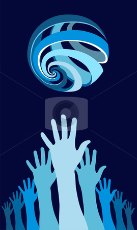 Raised hands with a world globe icon above stock vector clipart, Raised hands with a world globe icon over them. Concept of harmony in the world. Blue background. Vector file available. by Cienpies Design