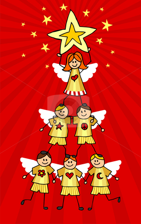 Cherubs Christmas Tree stock vector clipart, Children climb together to form a Christmas tree with a girl on top holding a star. Red background. Vector available by Cienpies Design