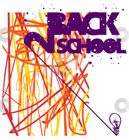 Back to school concept stock vector clipart, Back to school grunge background. Warm tones texture of intersecting lines and bulb lamp at bottom right by Cienpies Design