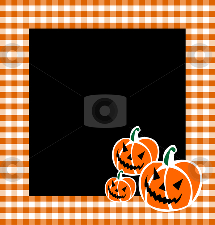 Halloween Pumpkin Faces Background stock vector clipart, Halloween pumpkin faces in a grid framework. Black background. Vector available by Cienpies Design