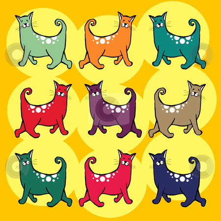 Cats with curly tail pattern stock vector clipart, Colorful cats with curly tail pattern. Yellow background by Cienpies Design