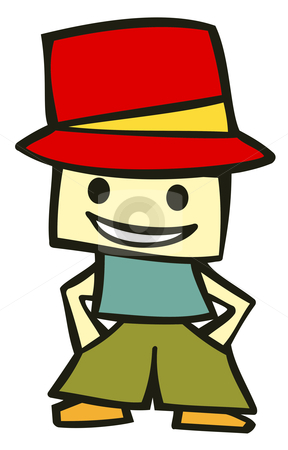 Funny kid cartoon character stock vector clipart, Friendly boy with his hands in his pockets and a funny red hat. Suitable for comics or cartoon character. Vector available by Cienpies Design